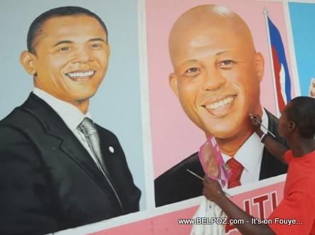 Barack Obama And Michel Martelly Haiti Wall Painting