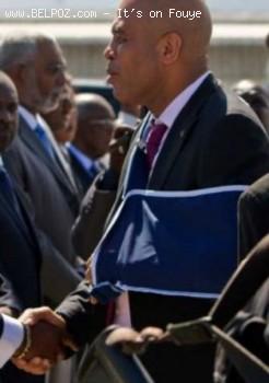 president michel martelly after shoulder surgery