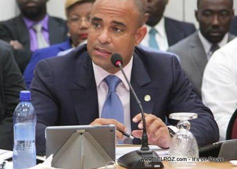 Haiti Prime Minister Laurent Lamothe at a Haitian Senate Hearing