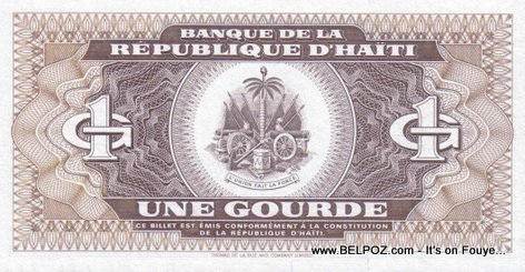 Haitian Currency - Haitian Money - 1 Gourde