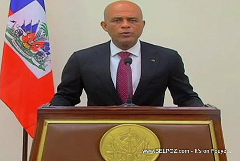 Haiti President Michel Martelly during a speech