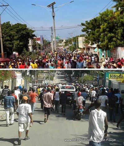 Haiti Manifestation 18 Novanm - Comparaison Pro-Martelly Anti-Martelly