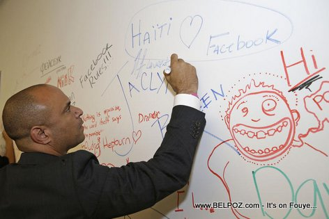 Haiti Prime Minister Laurent Lamothe writing on the Facebook wall