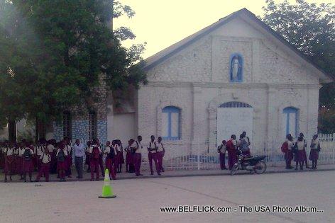 Haitian Students waiting for the Bus - Hinche Haiti