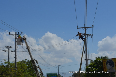 EDH doing Electricity Repairs in Gonaives before Kanaval 2014