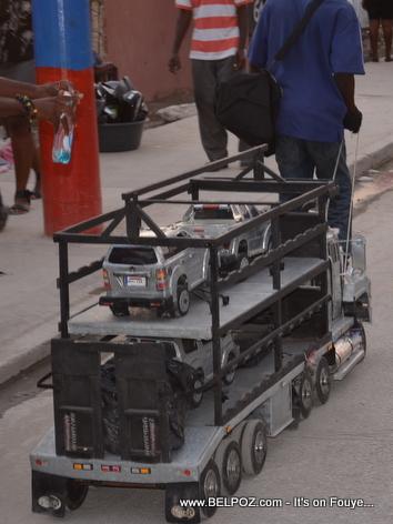 Tin Can Mack Truck Tractor Trailer - Made in Haiti