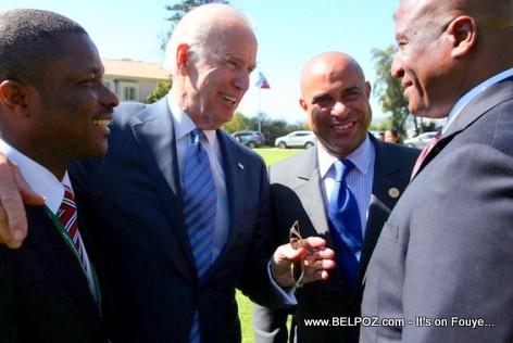 Joe Biden, Laurent Lamothe, Fritz Carlos Lebon and Victor Harvel Jean-Baptiste chile