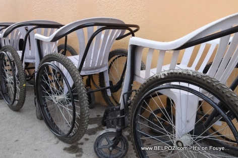 Haitian-made wheelchairs using plastic lawn chairs and bicycle parts