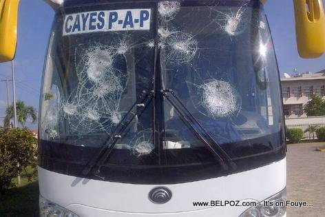 Capital Coach Line Bus Smashed by Haitian Protestors