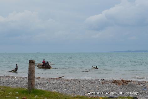 Fishermen fishing at Gelee Beach - Les Cayes Haiti