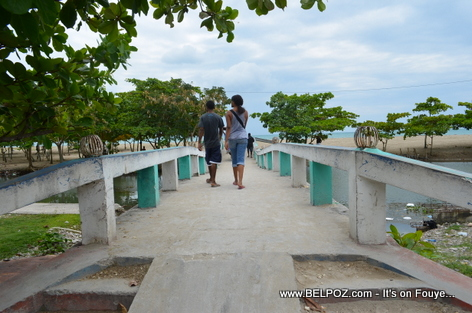 Bridge across mouth of Labiche River to Gelee Beach - Les Cayes Haiti
