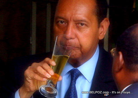 Jean-Claude Duvalier drinking Champagne