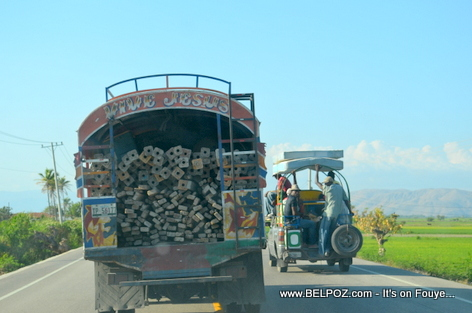 Haiti - Truck Loaded with contruction material on Route Nationale No 1