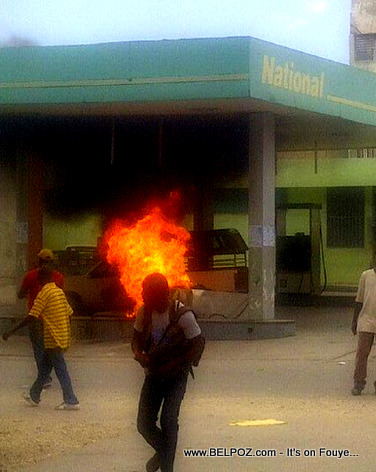 Haiti - National Gas Station Set on Fire in Anti-Martelly Protest
