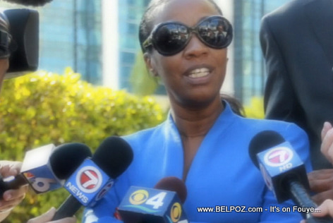 Suspended North Miami Mayor Lucie Tondreau being interviewed by the media