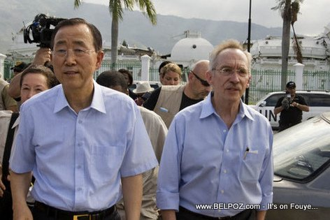 Ban Ki Moon and Edmond Mulet in front of Collapsed Haiti National Palace