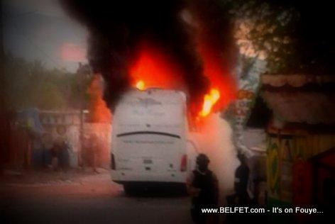 Capital Coach Line Bus Burned in Petit Goave