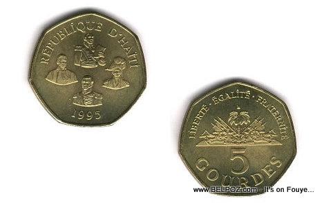 Haiti Currency - 5 Gourdes (Adoken)