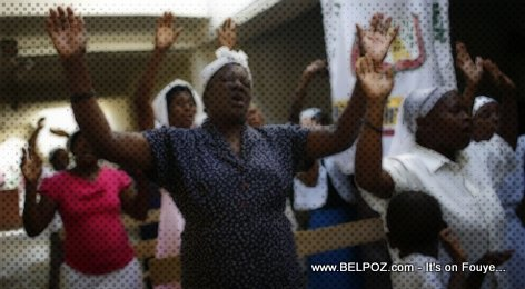 Haitians in Church Praising the Lord