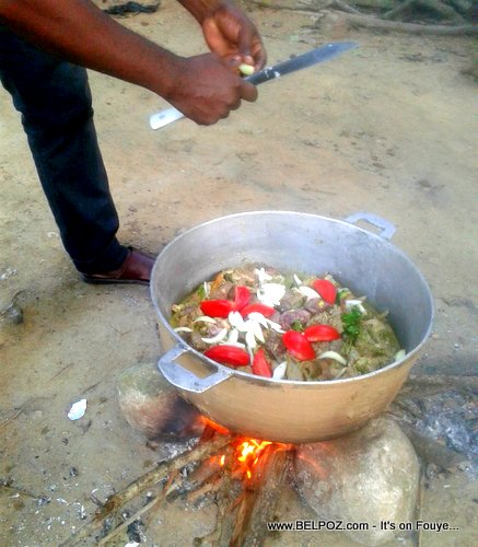 Somewhere in Haiti, Kabrit la sou dife - How to cook goat meat Haitian party style