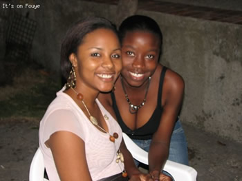 Jessica Geneus and a fan in Jacmel