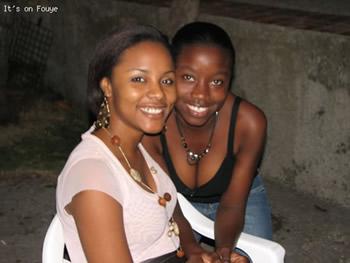 Jessica Geneus and a fan in Jacmel