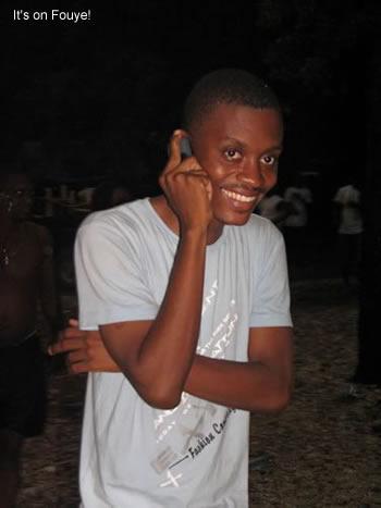 In haiti, talking on the phone