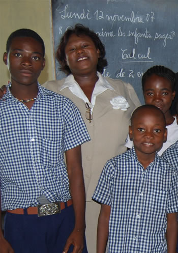 Haiti school teacher and student
