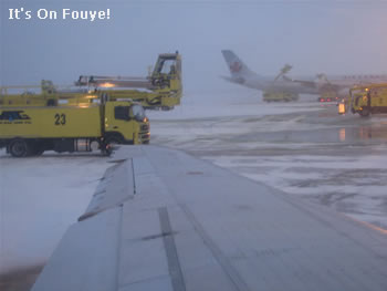 Jet plane deicing at Canada Trudeau airport