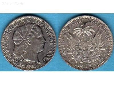 20 Centimes, Haiti Coins, year 1881
