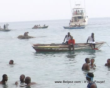 A day at the beach - Haitians enjoying themselves in the ocean