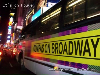 Compas On Broadway Promo on a New York City Bus