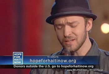 Justin Timberlake Hope For Haiti Now Telethon