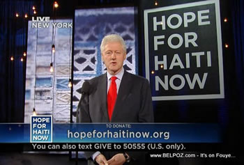 Bill Clinton Hope For Haiti Now Telethon