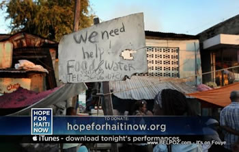 We need help, food, water - Haiti earthquake SOS sign