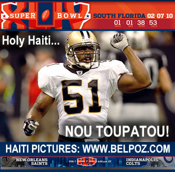 National Football League Super Bowl XLIV - Jonathan Vilma, Haiti