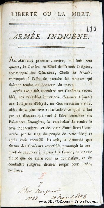 The Haitian Declaration of Independence