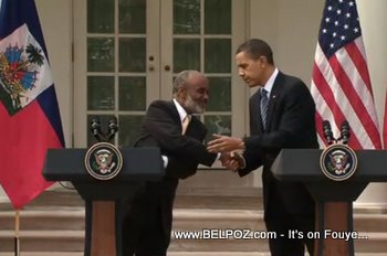 Preval And Obama Shaking Hands