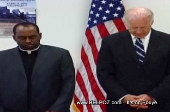 Joe Biden And Rev Reginald Jean Mary In Little Haiti