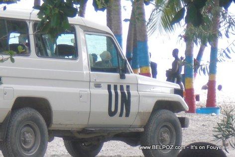UN Vehicle At The Beach In Haiti