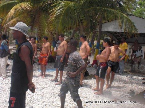 UN Peacekeapers at the beach in Haiti