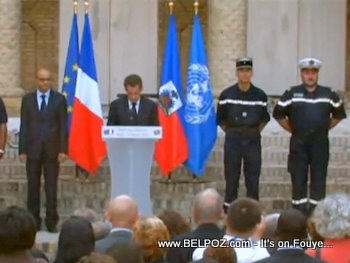 President Sarkozy Speaks To French Troops In Haiti