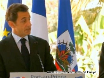 President Sarkozy Speaking In Haiti