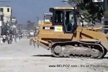Haiti Recovery, Track Loaders Removing Debris
