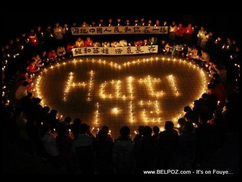 Heart Shaped Chinese Candlelight Vigil For Haiti