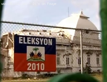 Election 2010 Sign In Front Of Collapsed Haiti Palace