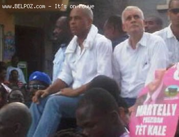 Wyclef Jean, Michel Martelly and Charlito Baker at a Post-Election Manifestation in Haiti