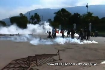 Tear Gas Anti Election Demonstration In Haiti