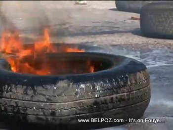 A Tire Burning - Protest in Haiti