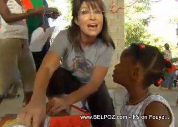 Sarah Palin Handing Out Gifts In Haiti